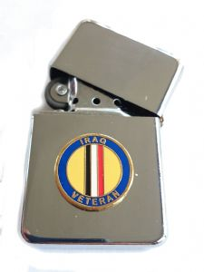 Iraq Veteran Military Chrome Plated Windproof Petrol Lighter in Gift Box